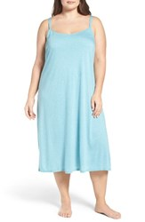 Natori Plus Size Women's 'Shangri La' Nightgown Enamel Blue