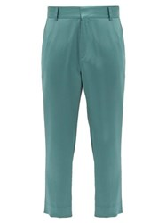 Sies Marjan Alex Cropped Satin Trousers Green