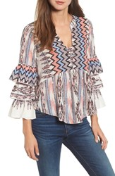 Kas New York Adams Ruffled Sleeve Blouse Multi
