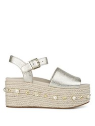 Kenneth Cole Indra Studded Leather Platform Espadrilles Soft Gold