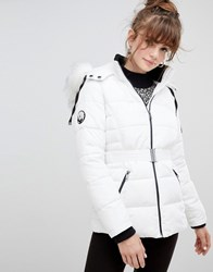 New Look Faux Fur Belted Padded Coat White