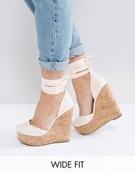 Asos Oliver Wide Fit Tie Leg Wedges Nude Beige
