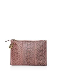 A.L.C. Joni Snakeskin Pouch Rosewood