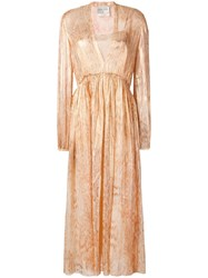 Forte Forte Snakeskin Print Layered Dress Gold