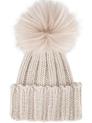 Inverni Racoon Fur Pom Pom Beanie Nude And Neutrals