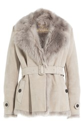 Burberry London Lambskin Jacket With Shearling Grey