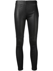 Iro Adonis Leggings Women Cotton Leather Spandex Elastane 34 Black