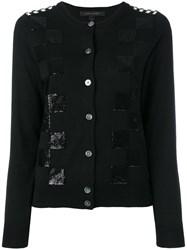 Marc Jacobs Embroidered Classic Checkered Cardigan Black
