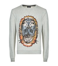 Just Cavalli Skull Print Sweatshirt Male Grey