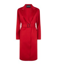 Emporio Armani Belted Cashmere Coat Red