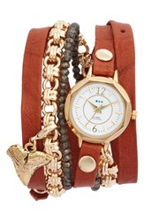 La Mer 'S Collections Del Mar Leather And Chain Wrap Watch 35Mm X 20Mm Tobacco White Gold