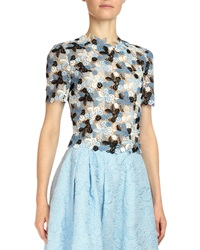 Erdem Emiko Floral Lace Crop Top Blue