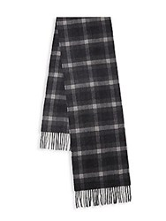 Saks Fifth Avenue Check Cashmere Scarf Navy