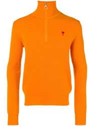 Ami Alexandre Mattiussi De Coeur Zipped Trucker Pass Sweater Orange