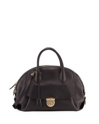 Salvatore Ferragamo Smooth Leather Dome Satchel Bag Black
