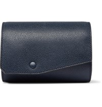 Valextra Pebble Grain Leather Watch Roll Navy