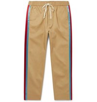 Gucci Tapered Cropped Striped Satin Trimmed Cotton Twill Trousers Beige