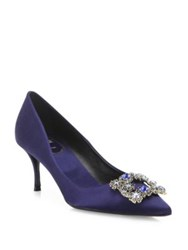 Roger Vivier Dec Flower Crystal Buckle Satin Point Toe Pumps Navy Blue