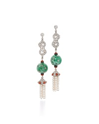Fred Leighton Contemporary Jade Bead Diamond And Coral Triple Drop Earrings