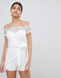 Love Triangle Lace Top Bardot Playsuit With Tie Waist White