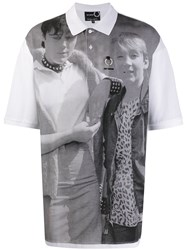 Fred Perry Raf Simons X Oversized Printed Polo Shirt White
