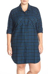 Plus Size Women's Make Model Flannel Nightshirt Green Pinecone Kimberly Plaid