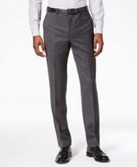 Dkny Men's Slim Fit Stretch Textured Suit Pants Charcoal