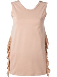 No21 Ruffle Detail Sleeveless Top Pink And Purple