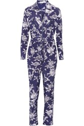 Equipment Maverick Printed Brushed Silk Jumpsuit Navy