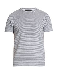 Etro Striped Terry Towelling T Shirt Navy Stripe
