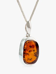 Be Jewelled Oblong Amber Pendant Necklace Silver Cognac