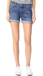 7 For All Mankind Relaxed Mid Roll Shorts Barrier Reef Broken Twill