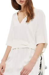 Topshop Women's Belted Kimono Tunic Ivory