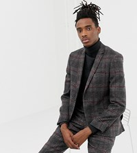 Heart And Dagger Slim Fit Wool Mix Suit Jacket In Charcoal Grey