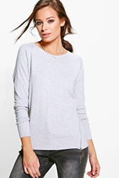 Boohoo Long Sleeve Knitted Top With Zips Grey