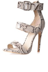 Alice And You Snakeskin Ankle Strap Sandals Snake Print