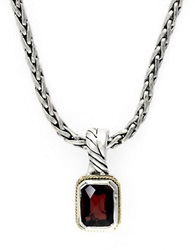 Effy Balissima Sterling Silver With 18K Yellow Gold Garnet Pendant Garnet Silver