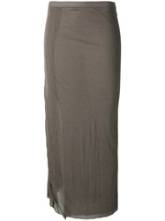 Rick Owens Lilies Fitted Midi Skirt Brown