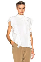 Lanvin Sleeveless Ruffle Top In White