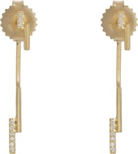 Monique Pean Women's Diamond And Gold Double Bar Earrings Colorless