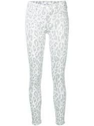 7 For All Mankind Leopard Print Skinny Jeans Grey