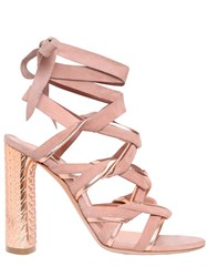 Casadei 100Mm Suede And Metallic Leather Sandals