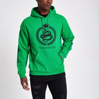 River Island Green Reef Embroidered Hoodie