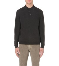 Slowear Long Sleeved Wool Blend Polo Shirt Charcoal