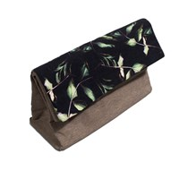 Susan Castillo Rose Leaf Large Paper Bag Style Clutch Black Green