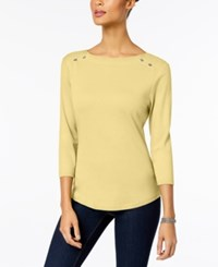 Karen Scott Cotton Boat Neck Top Created For Macy's Lemon Sugar