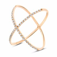 Cosanuova Crisscross Diamond Ring 18K Yellow Gold