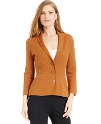 Alfani Petite Shawl Collar Knit Blazer Only At Macy's Brushed Sienna