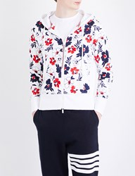 Thom Browne Floral Patterned Cotton Jersey Hoody White