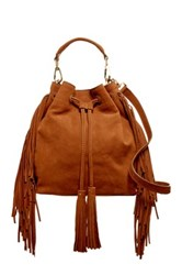 Brian Atwood Everly Drawstring Fringe Leather Bucket Bag Brown
